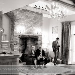 Wedding guests in the reception area at Bartley Lodge