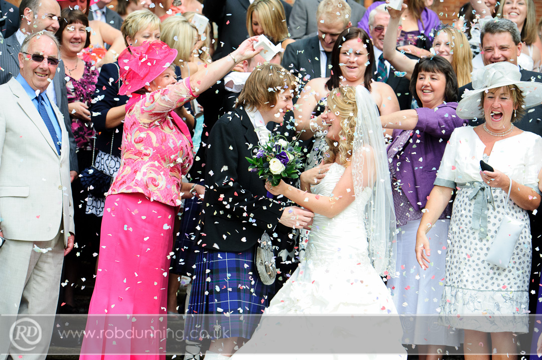 Confetti shower on the steps at New Place - Southampton Wedding Photographer
