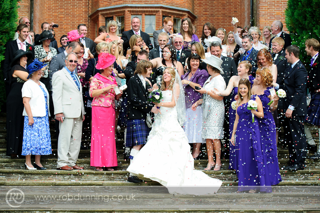 New Place Wedding Photography - Confetti on the steps outside.