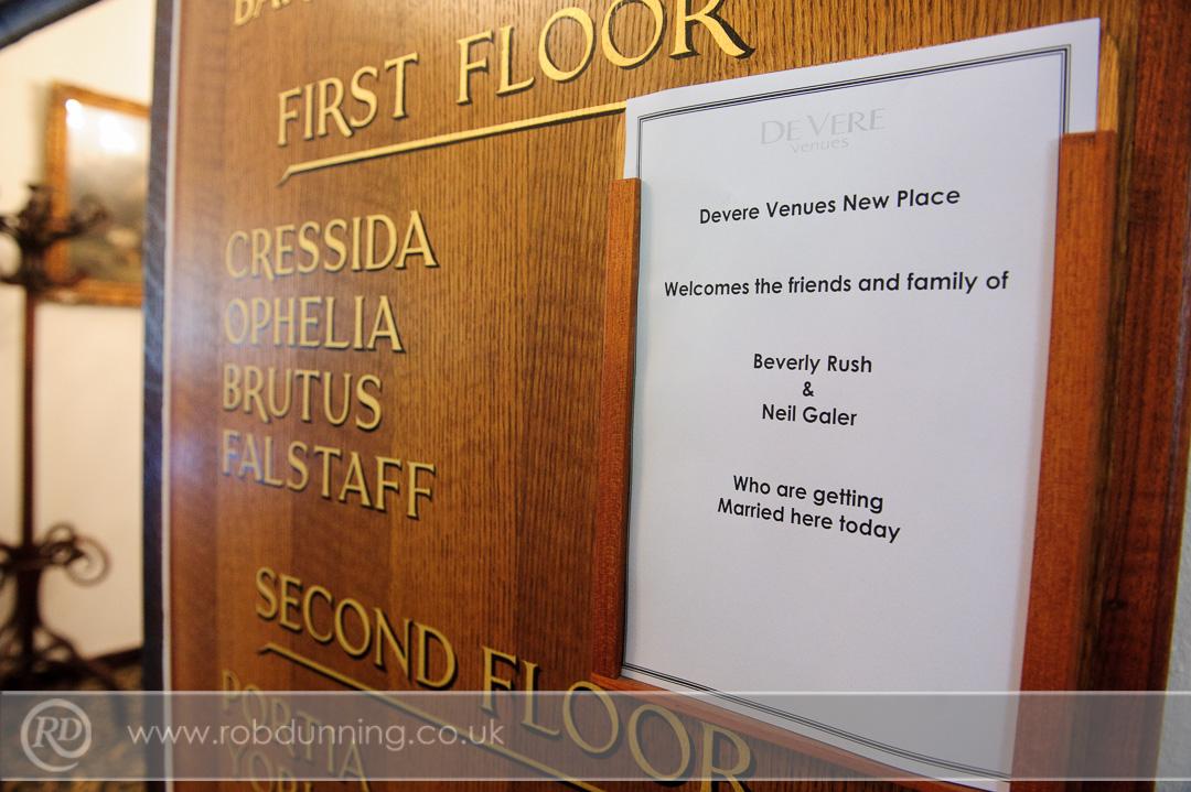 Name placard for the wedding day - Southampton Wedding Photographer